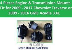 4 Engine & Transmission Mounts Fit 2009-2017 Chevrolet Traverse, GMC Arcadia 3.6