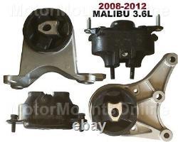 9M1129 4pc Motor Mounts fit 3.6L Chevy Malibu 2008 2012 Engine Trans Mounts