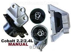 9R3106 4pc Motor Mounts n Front Insert fit MANUAL 2.2L 2.4L Chevy Cobalt 06 -10