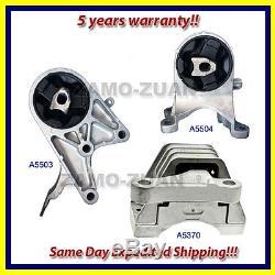 Fits 2009-2010 Chevrolet Malibu 2.4L 6Spd Hybrid Motor & Trans. Mount Set 3PCS
