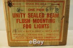 NOS PAIR Vintage Unity H2 Fog Lights Lamps Flush Mount Amber 6 Volt 4 Spotlight