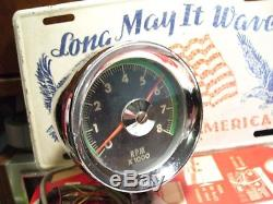 Vintage 1960' s Chrome auto greenline Tachometer gauge dash kit gm car rat rod