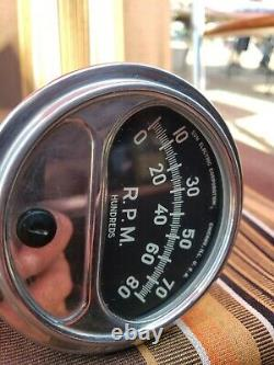 Vintage 1960's Sun 8000 8K Accessory Column Mount Tachometer Tach Gasser Hot Rod